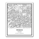 Squareious Frisco map poster print | Modern black and white wall art | Scandinavian home decor | Texas City prints artwork | Fine art posters 11x14