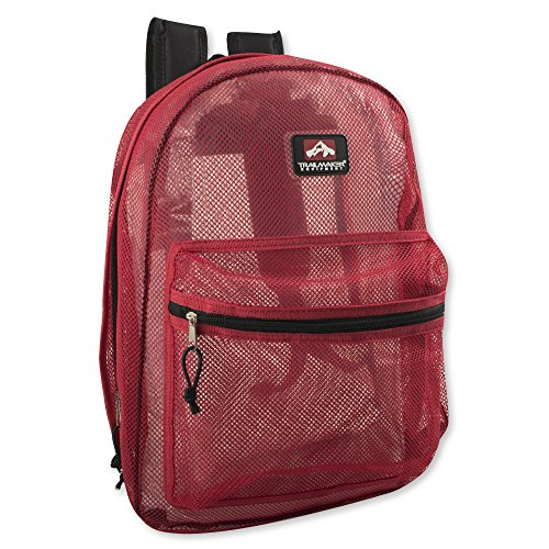 Trailmaker Classic 17 Inch Mesh Backpack with Reinforced Straps (Red)