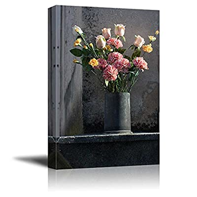 Canvas Prints Wall Art - Flower Arrangement with Romantic Mood in Vase - 24