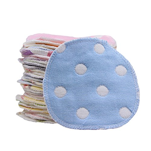 CC Shop Washable and Reusable Cotton Nursing Pads Round Breastfeeding Pads Ultra-Soft (0017 Cream)