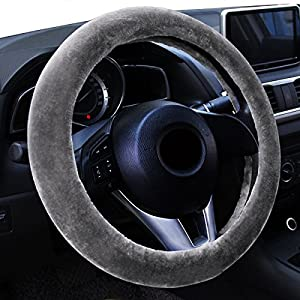 Zento Deals Trendy Steering Wheel Gray Protector Cover - For A More Comfortable Driving