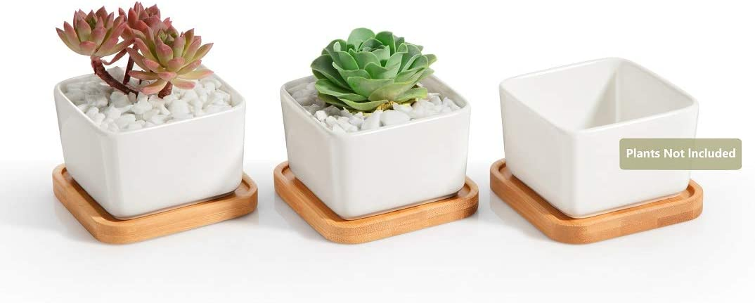 Opps 3.54 Inch White Ceramic Contemporary Square Design Succulent Plant Pot Cactus Plant Pot with Bamboo Tray – Pack of 3