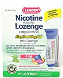 Leader Nicotine Lozenges 4 mg, Stop Smoking Aid, 81 Lozenges Per Box (3 Boxes)