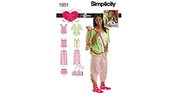 Amazon.com: Simplicity Designed with Love By Sara Sewing Pattern 1951 Girls and Misses Sleepwear, Size AA (7-8-10-12-14): Arts, Crafts & Sewing