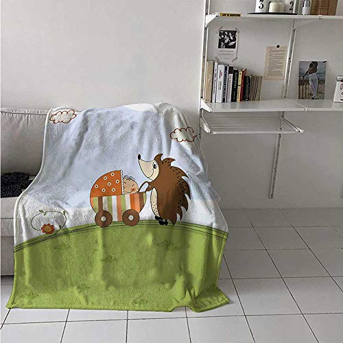 maisi Funny Digital Printing Blanket Baby Shower Theme A Hedgehog Pushing a Stroller with Baby Illustration Summer Quilt Comforter 62x60 Inch Baby Blue Pistachio Green -
