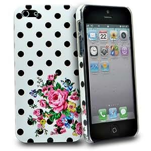 Accessory Master 5055403887142 - Carcasa de plástico con diseño de lunares y flores para iPhone 5G, color blanco y negro