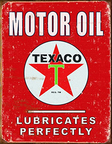 "Desperate Enterprises Texaco Motor Oil - Lubricates Perfectly Tin Sign, 12.5"" W x 16"" H"