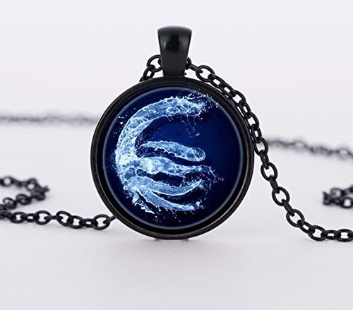 Handmade Water Tribe Avatar the Last Airbender Necklace, Glass Dome Pendant, Gift for Her Him, Nekel Free Jewelry