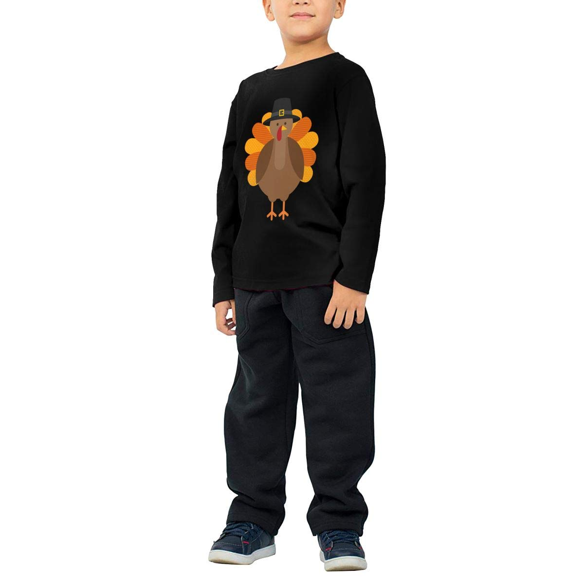 Glitter Rainbow Childrens Black Cotton Long Sleeve Round Neck T Shirt for Boy Or Girl