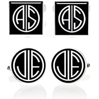 Kooer Custom Personalized Monogram Cuff Links For Gatsby Style Vintage Handmade Wedding Cufflinks