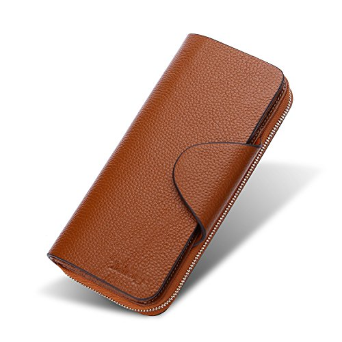Yafeige Large Luxury Women's RFID Blocking Tri-fold Leather Wallet Zipper Ladies Clutch Purse(Brown1) by Yafeige (Image #1)