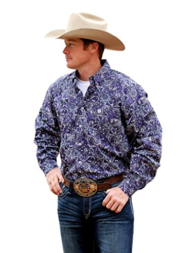 Cinch Men's Purple Paisley Long Sleeve Western Shirt Purple Medium