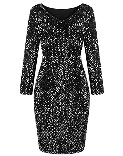 Yomoko Women's Long Sleeve V-Neck Sequins Sparkle Party Club Bodycon Dress (Large, Black)