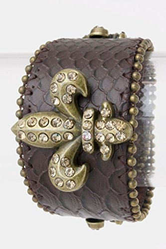 Trendy Fashion Jewelry Crystal Fleur-de-lis Leather Cuff By Fashion Destination | (Cheap Wholesale Jewelry By The Dozen)