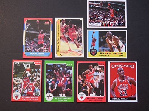 (Michael Jordan (8) Card Reprint Lot Including 1986-87 Fleer Rookie, 1986-87 Fleer Rookie Sticker, 1985 Star Rookie, 1986 Star and 1985 Gatorade Rookie and more (Bulls) )