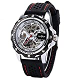 Feccoe Men's Sport Automatic Winding Mechanical Movement Skeleton Engraving Silicone Band Wrist Watches
