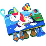 TEYTOY Animal Soft Activity Baby Book Early Education Toys Activity Crinkle Cloth Book for Toddler, Infants and Kids Perfect for Baby Shower