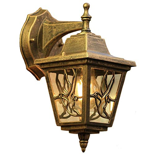 ROLLWER One-Light Outdoor Wall Fixture, Retro Brass Finish with Clear Seeded Glass Lampshade for Balcony, Living Room, Gate, Garden, - Courtyard Gate Garden