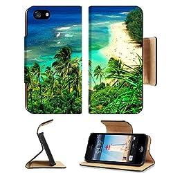 Nature Hawaii Kauai Beaches Scenery Apple iPhone 5 / 5S Flip Cover Case with Card Holder