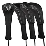 Andux 4 Pack Long Neck Golf Hybrid Club Head Covers Interchangeable No. Tag CTMT-01 (Black)