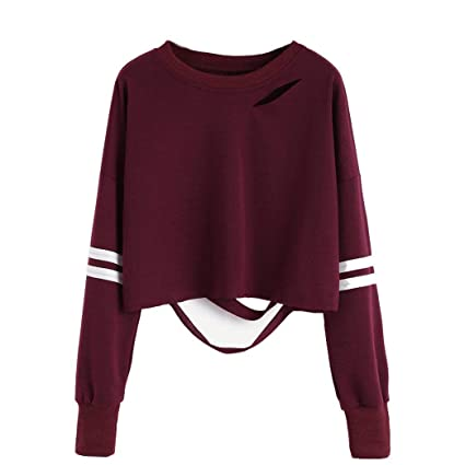 MEIbax Women Girl Hollow Short Sweatshirt Jersey de Manga Larga Jumper Pullover Tops: Amazon.es: Ropa y accesorios
