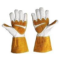 Goatskin Leather Welding Gloves Heat Resistant Rose Pruning Gardening Gloves Puncture Resistant Thornproof Yard Work Gloves Pruning Gloves for Welder Gardener Orchardist Farmer HCT09-C