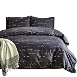 Omelas Ultra Soft Microfiber Duvet Cover Set Twin Boys Girls, Black Curved Eyelashes Printed Duvet Cover with Zipper Closure