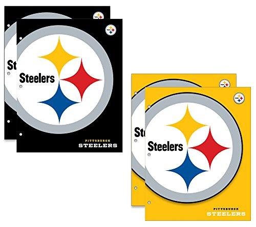 Pittsburgh Steelers NFL 2-Pocket School Folders, 4 Pack, 9.5