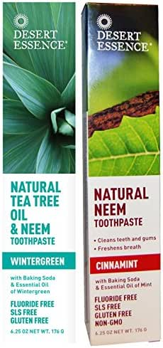 Desert Essence Toothpaste Natural Tea Tree Oil & Neem Toothpaste - 1 Wintergreen & 1 Cinnamint - Baking Soda & Essential Oil - Cleans Teeth & Gums - Refreshing Rich Taste - Tea Tree Oil