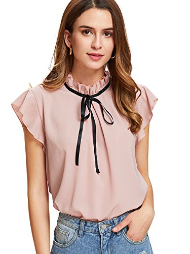Trim Woman Ruffle (Romwe Women's Casual Cap Sleeve Bow Tie Blouse Top Shirts Pink M)