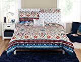 LO 5 Piece Cream Tan Red Blue Southwest Comforter Twin/Twin XL Set, Tribal Bedding Native American Pattern Aztec Navajo Mexican Design Western White Rustic Desert Toned Polyester