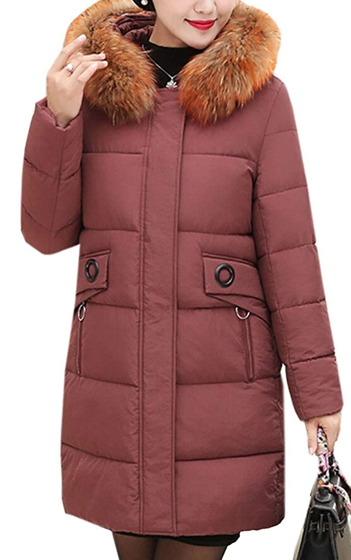 Esast Women's Winter Down Puffer Jackets Faux Fur Hood Parka Maxi Coat Parkas