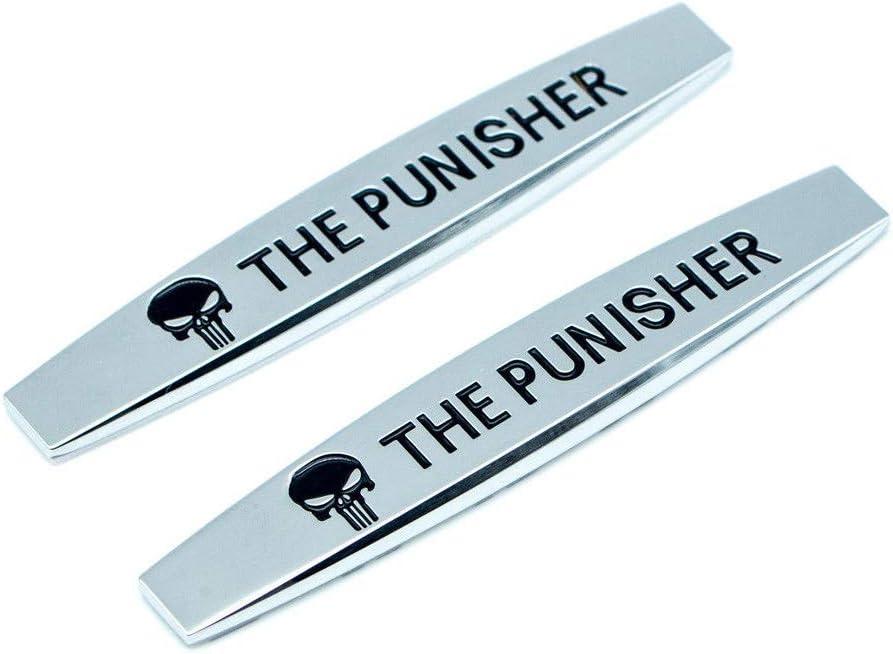 2 PACK 3D Metal Punisher Sticker Emblem Custom Decal Auto Badge SILVER COLOR