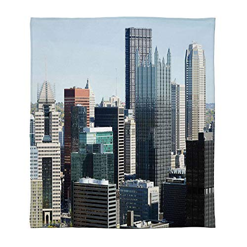 C COABALLA Lightweight Blanket,USA,for Bed Couch Chair Fall Winter Spring Living Room,Size Throw/Twin/Queen/King,American Architecture Pittsburgh PA Skyline Pennsylvania Modern