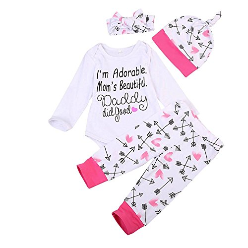 Lankey Newborn Baby Girls Clothes FloralI Am Adorable, Mom's Beautiful Bodysuit Romper +Pants +Headband+Hat Outfits