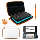 3 in 1 Protective Kit for NEW Nintendo 2DS XL - EVA Storage Bag with Stylus,2 Screen Protector Film and 8 pcs game card cases - White