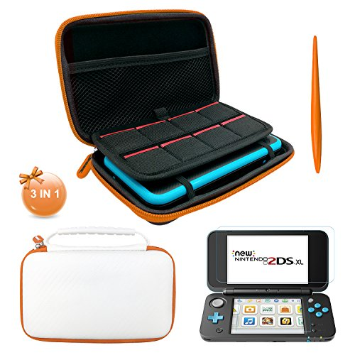 3 in 1 NEW Nintendo 2DS XL Case - EVA Storage Bag with Stylus,2 Screen Protector Film and 8 pcs game card cases - White