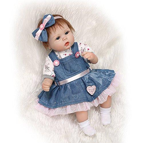 "Handmade RealLife Baby Dolls 18"" Soft Silicone Vinyl Reborns Lifelike Newborn Baby Girl Toy Magnetic Pacifier"