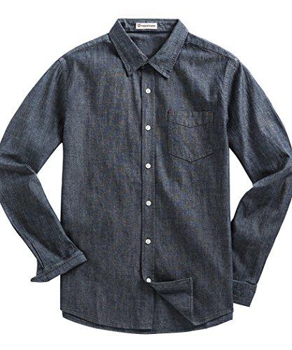 Classic Denim Dress Shirt - MOCOTONO Men's Denim Long Sleeve Pocket Casual Dress Shirt Navy Blue