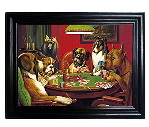 Dogs Playing Poker Framed Holographic Wall Art. Framed Lenticular Artwork. Hologram Images Of Dogs Playing Pool By Those Flipping Pictures.