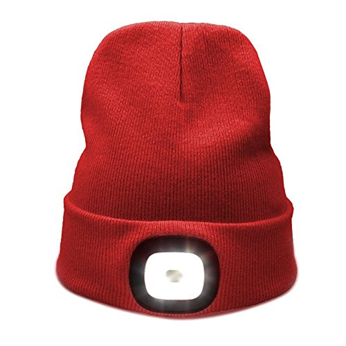 Kingnew 4 LED Knit Hat USB Rechargeable Flashlight Free Headlamp Cap Unisex Winter Warmer Knit Cap Hunting,Camping,Grilling Running (Red)