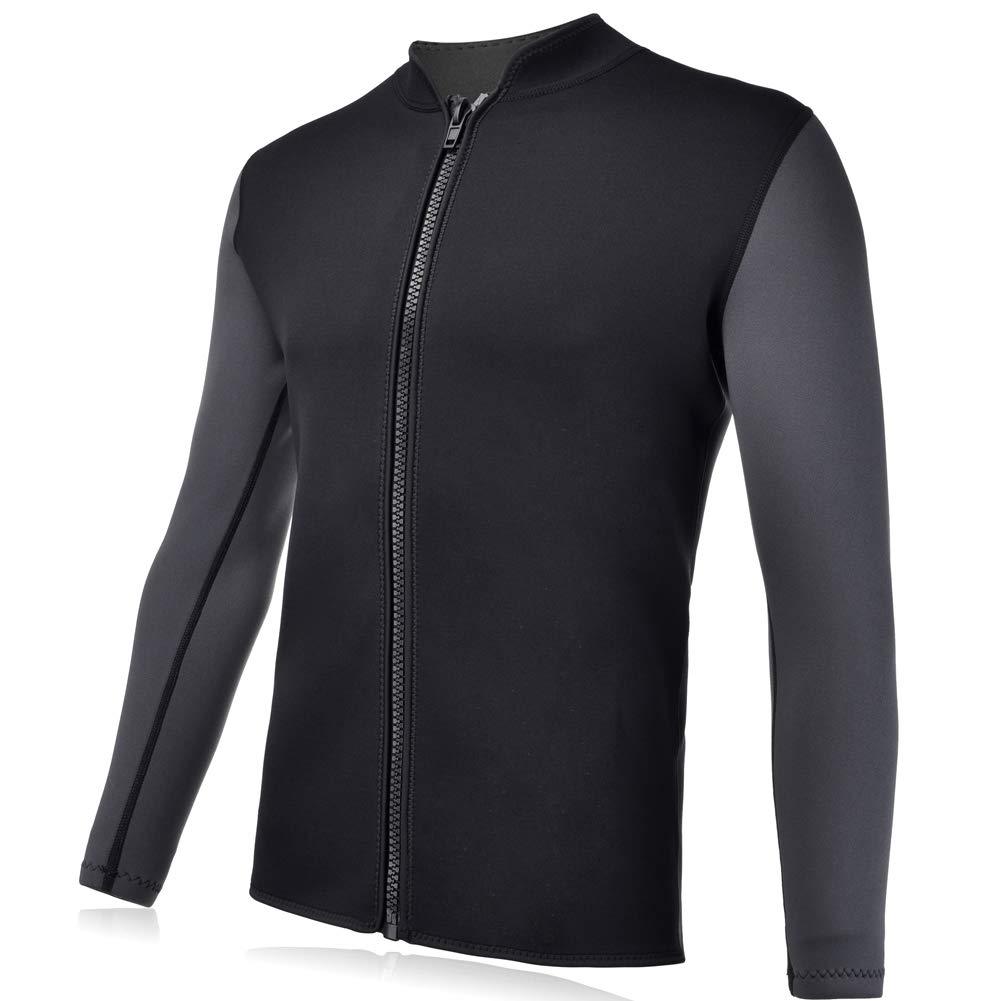 Realon Wetsuits Top Jacket Vest Mens Women 3mm Premium Shirt Neoprene Long Sleeve/Sleeveless Front Zip Sports XSPAN for Scuba Diving Surf Swimming Snorkel Windsurfing Suit (Men Jacket, XL)