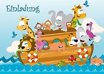 Zoo Tiere Auf Der Arche Noah 6 Er Set Lustige Einladungskarten Fur