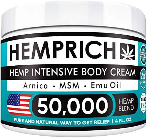 Hemp Cream 50,000mg | 4oz - Made in USA - Back, Neck, Knee Pain Relief - Natural Hemp Oil Cream - Anti Inflammatory - Fast Sore Muscle & Joint Relief - Arnica, MSM, EMU Oil & Glucosamine - Non-GMO