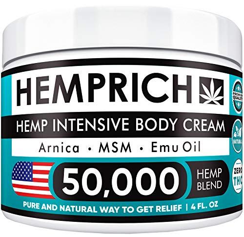 Hemp Cream 50,000mg | 4oz - Made in USA - Back, Neck, Knee Pain Relief - Natural Hemp Oil Cream - Anti Inflammatory - Fast Sore Muscle & Joint Relief - Arnica, MSM, EMU Oil & Glucosamine - Non-GMO
