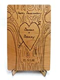 FREE ENGRAVING Custom Laser Cut Wood Anniversary Card. Customize OnLine (Card/Stnd/BackEngraving)