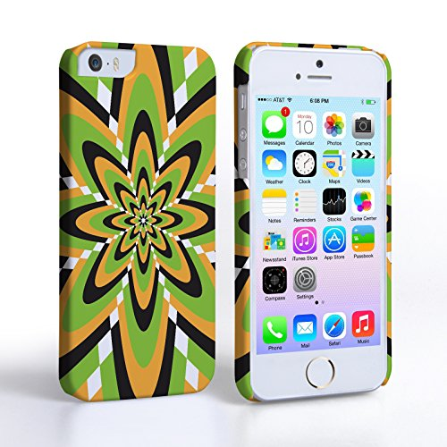 Caseflex iPhone 5 / 5S Hülle Grün / Gelb Retro Blume Muster Hart Schutzhülle