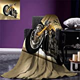 smallbeefly Motorcycle Lightweight Blanket Iron Custom Aesthetic Hobby Motorbike Futuristic Modern Mirrors Riding Theme Digital Printing Blanket Yellow Silver