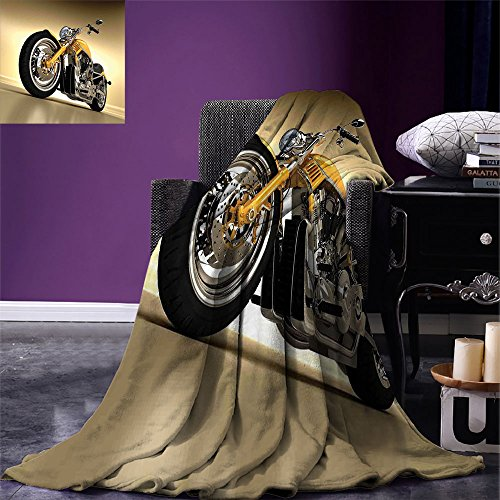 smallbeefly Motorcycle Lightweight Blanket Iron Custom Aesthetic Hobby Motorbike Futuristic Modern Mirrors Riding Theme Digital Printing Blanket Yellow Silver by smallbeefly