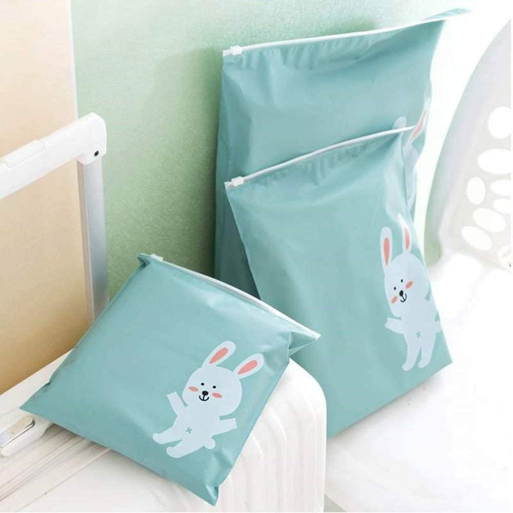 Acc Bolsas de Almacenamiento de Ropa clasificadas para Viajes, Bolsas de plástico de Dibujos Animados, Bolsas de Almacenamiento de Viaje Impermeables, Large Cute Bunny, 37 * 41cm